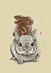 Little bunny with a chocolate bunny on its back by shivikai