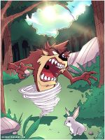 Tasmanian Devil and Bugs Bunny by erickenji