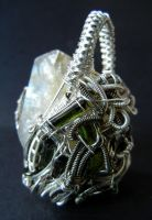 Herkimer and tourmaline wire wrapped pendant by dogzillalives