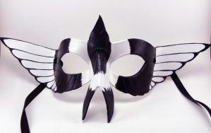 Magpie Mask - Custom order domino mask by LucyLovesLeather