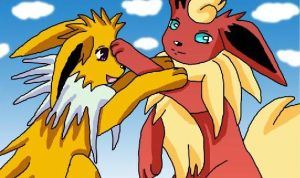 Jolteon and Flareon playing by BekkiDarliin