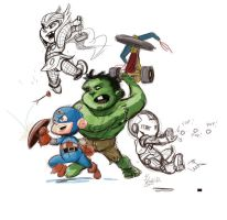 Mini Cap and the Mini Avengers by irongiant775