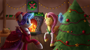 Christmas wallpaper : Merry and Flutterholly by DivLight