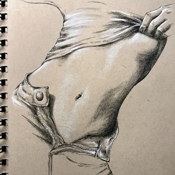 Figure study in pen and charcoal pencil by leversandpulleys