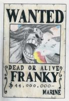one piece, franky wanted poster by lea33