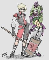 Genderswap Harley and Joker Sketch Idea by NoFlutter