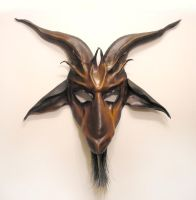 Baphomet Goat Leather Mask brown and black by teonova