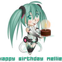 Miku says Happy Birthday Mellie! by TheBumbler