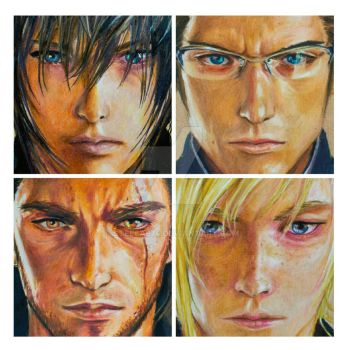 the 4 bros collage illustration -Final Fantasy xv by Stella974