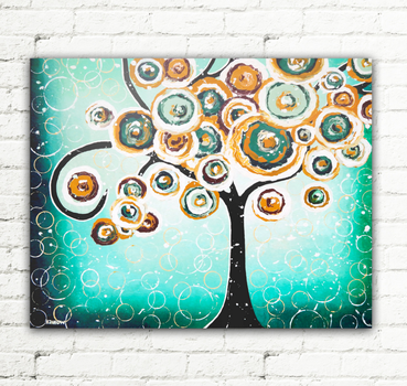Turquoise Whimsical Tree of Life Living Room Decor by hjmart
