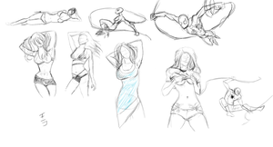 Spider-man, lara and pinup poses ( sketch ) by CamilleVi