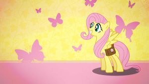 Fluttershy with butterflies wallpaper minimalistic by Nidrax