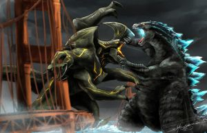 Godzilla (2014) vs Trespasser (Pacific Rim) by slifertheskydragon