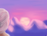 Elsa looks at the sunset by HydraArts