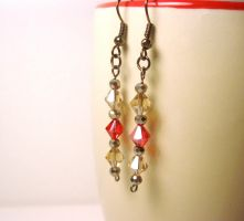red and amber earrings by faranway