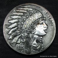 Re-Carved Coin Sailor Jerry Indian Princess by shaun750