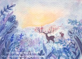 The blue desert - watercolor on sale !! by Sandwichwithham