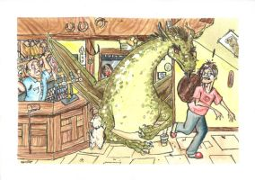 Dragon in pub cooking by vodkaandtomatojuice