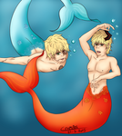 Arthur and Frankie, mermen by LxLightFreak