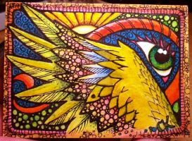 Rainbow Wing Doodle ACEO by MandarinMoon