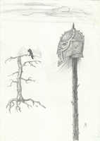 Helmeted skull on a stake by GrinningGhoul