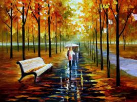 Fall - white umbrella by Leonid Afremov by Leonidafremov