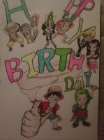One piece birthday card by ChoasisShinigami