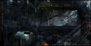 Dystopian warehouse by RobertDBrown