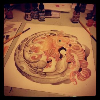 Koi Fish in Moon (WIP) by DeviousE