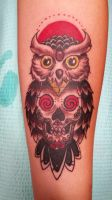 Owl SugarSkull Tattoo by Khali42