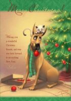 Christmas Card _Dog and Cat by Sabinerich