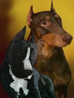 Doberman an pit-bull commission by Be-Lyle