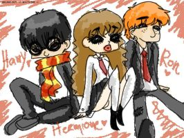 Harry, Hermione and Ron by Helsic