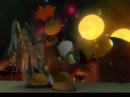 Rayman at the moon light by MelancholyRequiem11