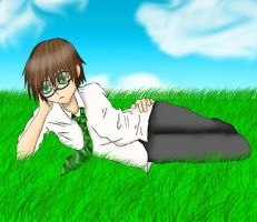 Donovan laying in the grass by Draxflygon