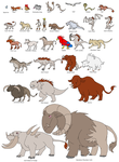 Comparative sizes of beasts by Mackico