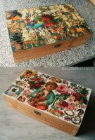 2 Decoupage boxes by RevelloDrive1630