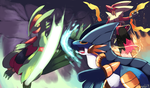 Hoenn Mega Starters in a Mega Battle by Phatmon