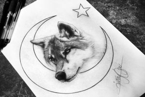 The Lonely Wolf sketch - Turkish Flag - Ay Yildiz by sertaliozer