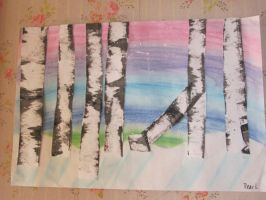 birch trees painting by pandas92