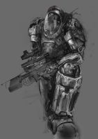 Space Marine Sketch by patryk-garrett