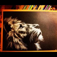 Another lion on black card by dazzbishop
