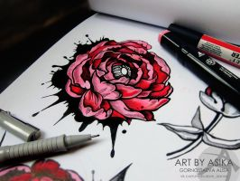 tattoo flash. peony by AsikaArt