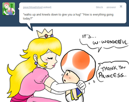 Ask Toad - Peach Hugs by pocket-arsenal