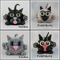 Polymer Clay Cats by KIMMIESCLAYKREATIONS