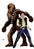 Han Solo And Chewbacca  By Silveirajrart by Kenkira