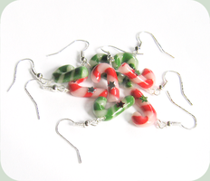 candy cane earrings by BadgersBakery