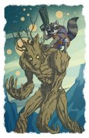 Rocket Raccoon and Groot by SachaLefebvre