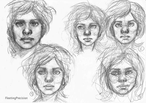 drawing the same face 5 times challenge! by FleetingPrecision