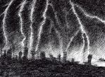 Lightning over the city by Ewlor